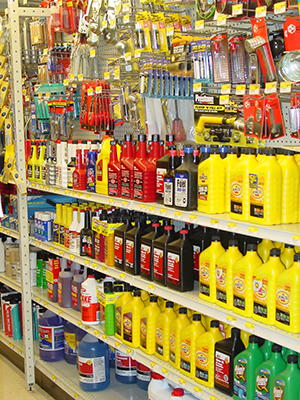 automotive supplies on shelves