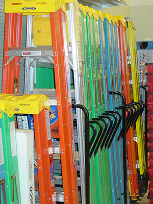 row of colorful ladders