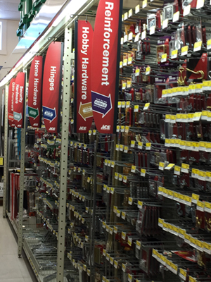 aisle of misc hardware - hinges, fasteners, etc.