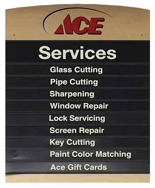 ACE services listing